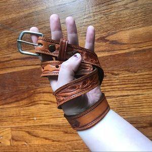 Vintage tooled leather belt